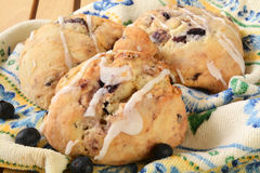 Blueberry scones with icing Royalty Free Stock Photography