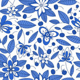 Blueberry seamless pattern with floral elements. Forest blueberry branches seamless pattern with stylized bright blue and white flowers for retro wallpaper or Stock Photo