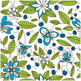 Blueberry seamless pattern with flowers. Blooming blueberry meadow seamless pattern with stylized white and blue flowers, dark purple berries and evergreen Stock Image