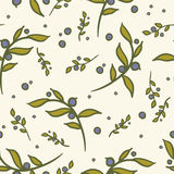 08_blueberry_seamless_pattern. Hand-drawn floral and berries seamless pattern Royalty Free Stock Photos