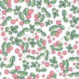 Blueberry berries seamless vector pattern on white background stock illustration