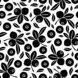 Blueberry seamless pattern. Vector illustrations of silhouette image of blueberry seamless pattern Stock Photos