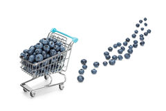 Blueberry shopping. Blueberries in a shopping cart with some fallen out On white background Royalty Free Stock Photos