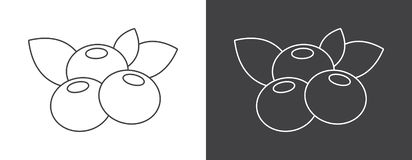 Blueberry sign icon on white and black background royalty free illustration