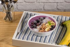 Blueberry smoothie bowl Stock Photo