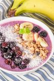 Blueberry smoothie bowl Royalty Free Stock Images