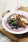 Blueberry smoothie bowl with banana and chia seeds Stock Photography