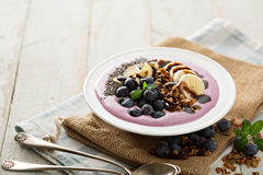 Blueberry smoothie bowl with banana and chia seeds Royalty Free Stock Photo