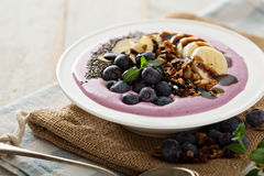 Blueberry smoothie bowl with banana and chia seeds Stock Images