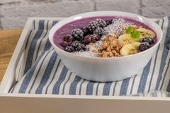 Blueberry smoothie bowl Royalty Free Stock Photography