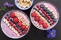 Blueberry smoothie bowl. stock photos