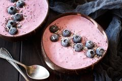Blueberry smoothie bowls. Topped with fresh Blueberries Stock Image