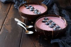 Blueberry smoothie bowls. Topped with fresh Blueberries Stock Images