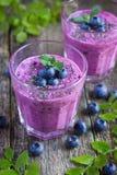 Blueberry smoothie with chia seeds Stock Photos