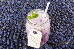 Blueberry smoothie in a glass jar with a straw and sprig of mint Royalty Free Stock Photos