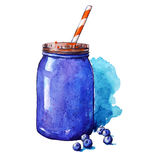 Blueberry smoothie. Mason jar. Watercolor. Hand painted. Stock Photos