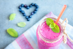 Blueberry smoothie Stock Images