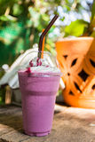 Blueberry smoothie with whipping cream Royalty Free Stock Photo