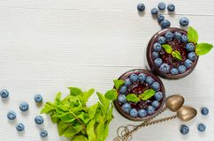 Blueberry smoothies in the glasses with fresh mint and two vintage spoons on the gray background. Summer detox superfood breakfast. Blueberry smoothies in the Stock Image