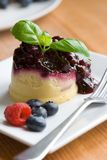 Blueberry sponge pudding Stock Photography