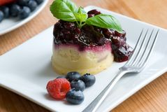 Blueberry sponge pudding Stock Photo