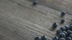 Blueberry with spoon on the table stock footage