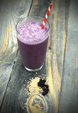 Blueberry and steel cut oats smoothie Stock Photo
