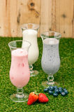 Blueberry, Strawberry and Banana milk shake Stock Photo