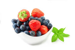 Blueberry and strawberry in a bowl Stock Photos