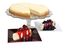 Blueberry and Strawberry Cheesecake Stock Photos