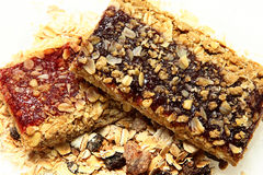 Blueberry and Strawberry Granola Bars Stock Photos