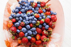 Blueberry and strawberry, healthy food concept Royalty Free Stock Photography