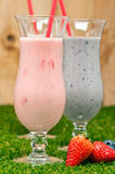 Blueberry and Strawberry milk shake Royalty Free Stock Photography