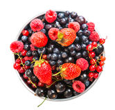 Blueberry, strawberry, raspberry, black and red currant. In  bowl Stock Photography