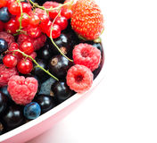 Blueberry, strawberry, raspberry, black and red currant in red b Royalty Free Stock Photo