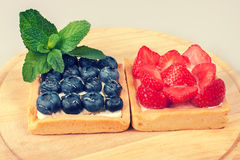 Blueberry and strawberry shortcake Royalty Free Stock Image