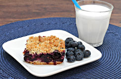 Blueberry Streusel Cookie Bar and milk Royalty Free Stock Photos