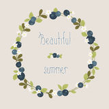 Blueberry summer beautiful wreath Royalty Free Stock Photography