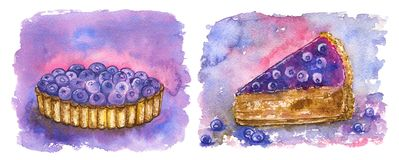 Blueberry sweets on purple: tartlet and piece of cake Royalty Free Stock Image