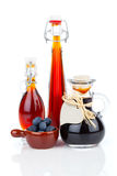 Blueberry syrup in glass bottle or mixture, Stock Photo