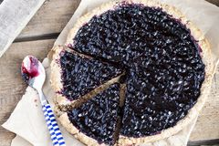 Blueberry tart with buckwheat cereal Stock Image
