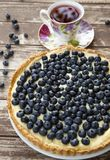 Blueberry tart. Tart with custard cream and blueberries Royalty Free Stock Photos