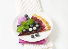 Blueberry tart with ice cream Stock Image