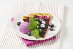 Blueberry tart with ice cream Stock Images