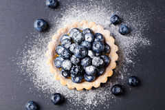 Blueberry tart, pie, tart with vanilla custard. Slate stone background. Top view. Copy space Stock Photography
