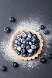 Blueberry tart, pie, tart with vanilla custard. Slate stone background. Top view. Copy space Royalty Free Stock Photos