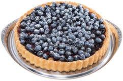 Blueberry Tart on white Stock Image