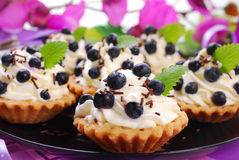 Blueberry tartlets with whipped cream Stock Photo