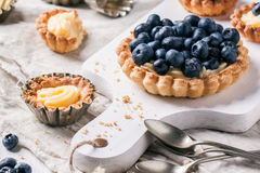 Blueberry tarts Stock Photos