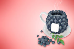 Blueberry tea cup. Healthy food. Blueberry drink Stock Photo